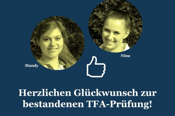 Herzlichen Glückwunsch zur bestandenen TFA-Prüfung!